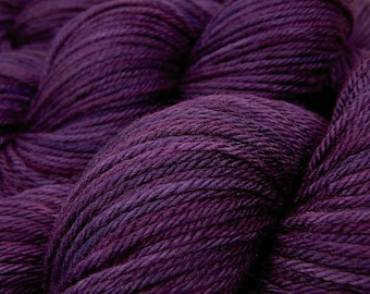 Hand Dyed Yarn, Worsted Weight Superwash 100% Merino Wool - Blackberry Tonal - Indie Dyed Purple Wool Yarn for Knitting, Crochet