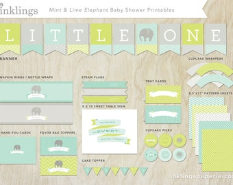 Printable Decorations  // Baby Shower or First Birthday, Blue and Green Shower, Elephant Party or Shower // Mint & Lime Elephant Collection