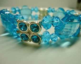 Blue Bracelets for women, Sky Blue Crystal Bracelet, Blue Beaded Bracelet, Elastic Bracelet with Crystals, Unique Mothers day gifts on sale