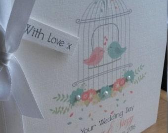 Shabby chic personalised Wedding Congratulations card  birdcage, Civil Partnership card, Celebrations, Love.keepsake.
