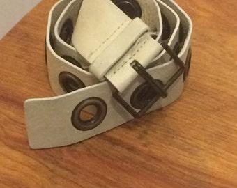 Vintage Beige Leather Belt