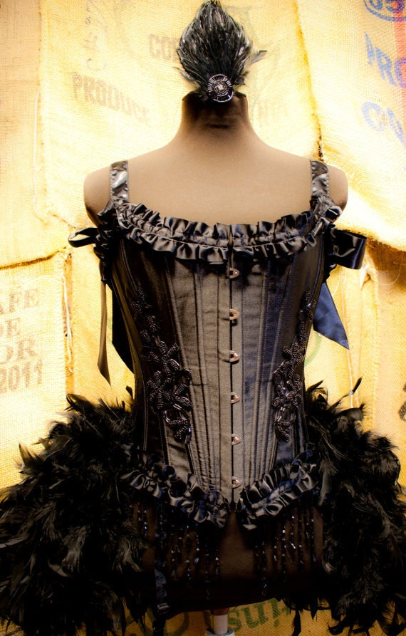 TWILIGHT Circus Burlesque Feather Costume Corset Black Swan Steampunk prom dress