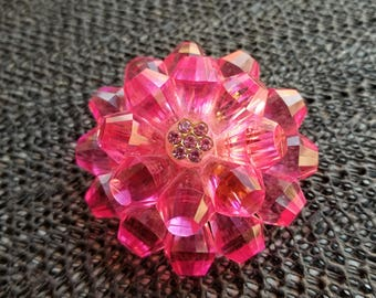 Vintage wonderfull 1960s HOT PINK  lucite flower pin made in GERMANY