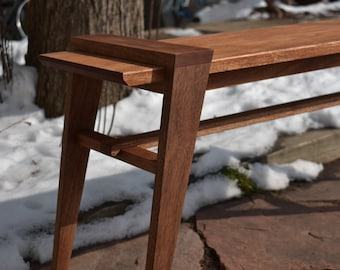 Solid Mahogany Modern Bench, Handmade in Colorado