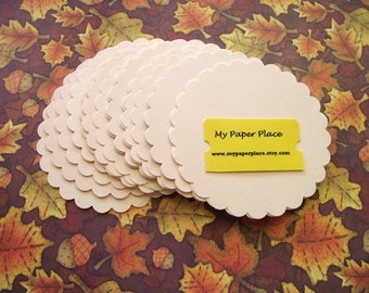 25- Extra Large Scalloped Cardstock Circles - 3 and a half inches- Ivory Escort Cards