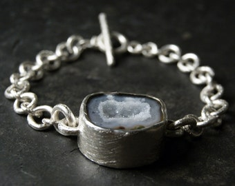 Grey and White Geode Druzy Bracelet in Sterling Silver