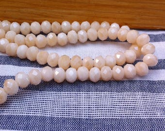 10 beads, faceted, sand color, non transparent, Crystal 6 mm
