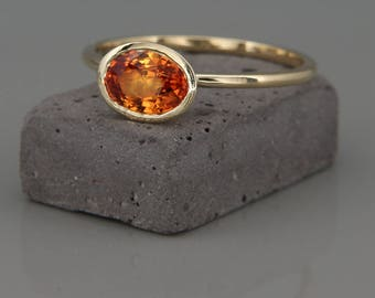 14 Gold Ring set with Natural Orange sapphire | Handmade solid 14k gold ring set with a natural orange sapphire gem | Orange sapphire Ring
