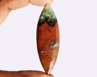 New Arrivals Natural Red Green Sonora Sunset Jasper Marquise Cabochon, Chrysocolla, Red Cuprite, Pendant Jewellery Making, Sonoran, AG-9074