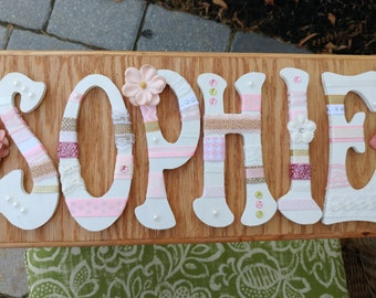 Custom Wooden Name Sign with light stain
