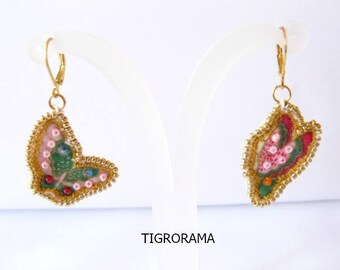 Embroidered earrings Lunéville