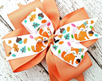Floral Fox Hair Bow in Peach with Acorns & Leaves, Sparkly Woodland Animals Hair Clip, Attach 4 Inch Bow to Hair Clips, Barrette or Headband
