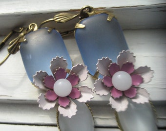 Breaking Dawn Earrings. vintage enamel flowers, moonstone earrings, dangle earrings, retro style earrings