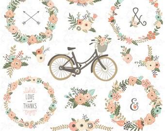 "Floral clip art ""FLORAL RUSTIC""Clipart.Floral Wreath.Floral Wedding Wreath.Rustic Flower. 21 images,300 dpi.Png files.Instant Download.Wd125"