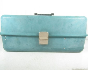 Vintage Aqua Aluminum Tackle Box, Metal Tool Box, Fishing box, Tackle Box, Umco
