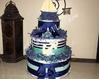 Nautical Diapercake/Ahoy It's a Boy/Anchors aweigh a little girl is on her way/Nautical Theme baby shower/Nautical theme party/sail boat