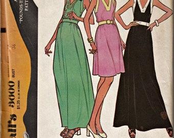 1970's V-Neck Summer Dress  McCall's 3600 Vintage Dress Pattern Out of Print Retro 1973 Dress Pattern UNCUT, Factory Folded  Bust 16