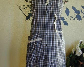 Gray Grey Dress Shirt Apron with Eyelet Trim