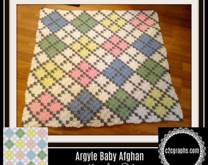 Featured listing image: Argyle C2C Graph, Argyle Baby 6 color Afghan, Argyle Crochet Pattern, Argyle Corner to Corner