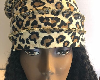 Leopard Cotton Knit Slouchy Hat Gold Stitching