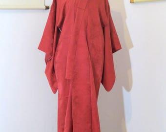 Cardinals in the Snow silk Iromuji   Vintage 1930s Kimono   Vibrant Red Traditional Pre-WWII Kimono