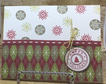Happy Holidays Greeting Card Christmas Snowflake Shapes