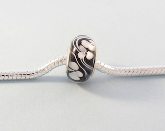 White flower charm bead / black European charm bracelet bead / glass bead with silver core