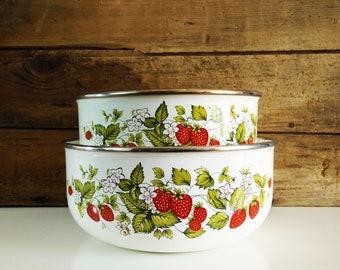 Vintage Enamel Strawberry Nesting Bowls