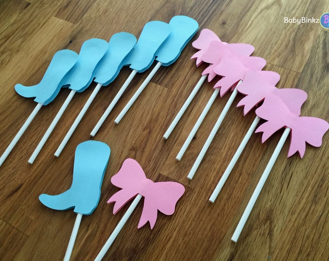 Cupcake Toppers: Gender Reveal Boots or Bows Baby Shower - Die Cut Pink Girl Hair Bow & Blue Boy Cowboy Boots