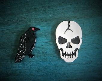 Ceramic Raven and Skull Magnets
