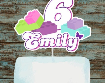 Girl Building Blocks Printable Cake Topper, Building Blocks Centerpieces, Building Blocks Birthday Party Decorations, Building Bricks Party