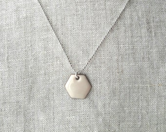 Vitreous enamel necklace hexagon pendant cream color  torchfired enamel sterling silver chain minimalist jewelry delicate  chain geometric