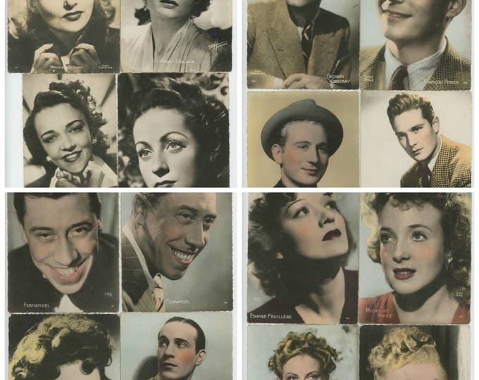 Collection of 16 French Movie Stars 1940s-50s Real Photo Postcards (78596)