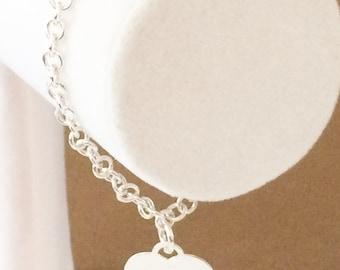 """Sterling Silver Rolo Link Heart Charm Bracelet 7 1/4"""""""