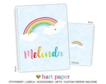 Rainbow Spiral Bound Notebook • 8.5x11 OR 5.5x7.25 • Name Back to School Supplies Office End of Year Teacher Gift Personalized Custom