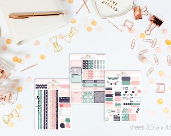 Navy Blooms MINI Weekly Kit // 130+ Matte Planner Stickers // Perfect for your Personal Planner // WKM0090