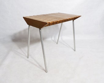 Vintage Mid-Century Modern Slotted Solid Wood Lightweight Bench