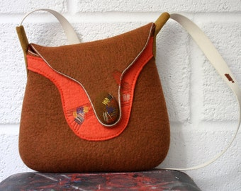 25% OFF/ Hand felted wool cross body bag with stitched abstract ornament and cotton strap