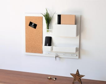 "Wall Organizer - wooden, on the wall, hanger for keys, mail, newspapers, pin board, white, 24,8 "" x 17,9 "","