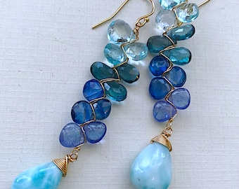 Oceanside Woven Earrings with Kyanite, blue Topaz, Tanzanite and Larimar
