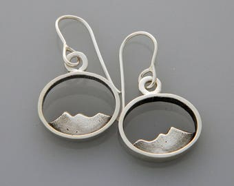 "Silver Mountain jewelry ""Silver Peaks"" silver earrings, landscape earrings"