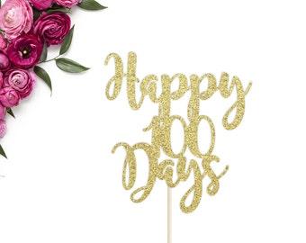Happy 100 Days Cake Topper | Baby's 100 Days Cake Topper | Birthday Cake Topper | 100 Days Celebration | 100 Days | Gold Glitter Cake Topper