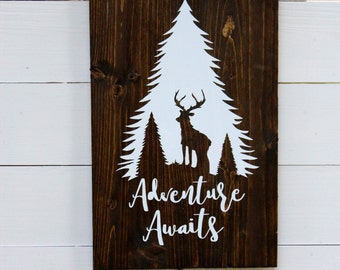Adventure Awaits Rustic Wall Sign | Follow Your Arrow | Entryway Decor | Forest and Buck | Wall Decor | Boho Chic Decor | Gift Under 25