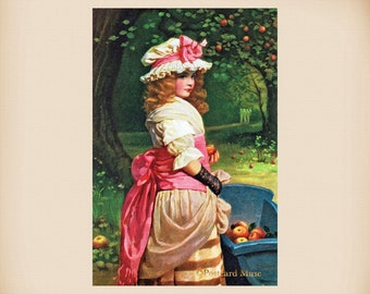 Girl With Apples New 4x6 Vintage Postcard Image Photo Print IL132