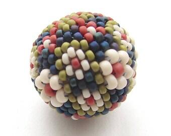 Perlen Perle Kit 25mm Brennweite, Scandi Blumen, rot weiß blau grün, Beadweaving DIY, Peyote Stich Kit