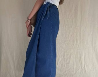 Vintage Jane Denim Wrap Maxi Skirt
