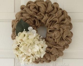 Mini burlap wreath- light brown ruffle burlap wreath accented with a cream hydrangea
