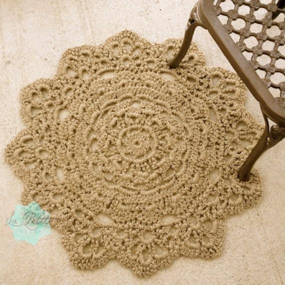 Jute Crochet Round Doily Rug 37 Flower Pattern Chunky
