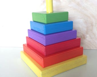 Stacking blocks, montessori learning, bright colours, handmade