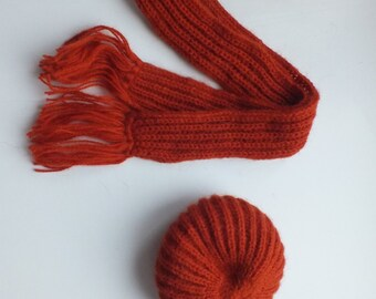 Handmade knitted BJD SD wool hat and scarf set